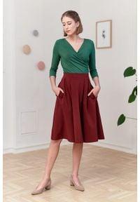 Marie Zélie - Spódnica Ada ceglasta. Kolor: czerwony. Materiał: bawełna, dzianina, guma, elastan