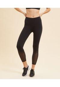 Czarne spodnie sportowe Etam na fitness i siłownię, długie