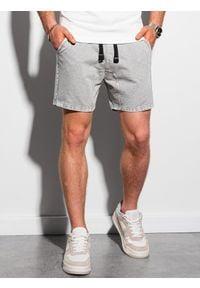 Ombre Clothing - Krótkie spodenki męskie dresowe W293 - jasnoszare - XXL. Kolor: szary. Materiał: dresówka. Długość: krótkie. Sezon: lato