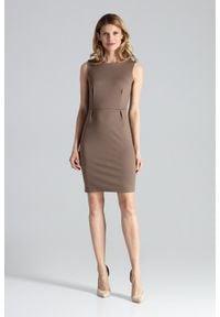 Figl - Dopasowana sukienka mini bez rękawa klasyczna mocca. Okazja: do pracy, na imprezę. Styl: klasyczny. Długość: mini #4