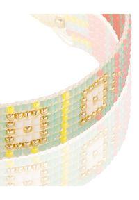 MOKOBELLE - Pastelowo-neonowa pleciona bransoletka. Kolor: zielony. Wzór: aplikacja, geometria