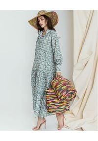 SENSI STUDIO - Wielokolorowa torba ze słomy. Kolor: zielony. Rodzaj torebki: do ręki