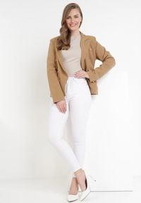 Born2be - Camelowa Marynarka Orethorise. Materiał: jeans, materiał. Długość: długie. Styl: sportowy, elegancki