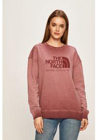 Różowa bluza The North Face na co dzień, z nadrukiem