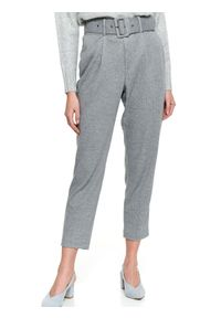 Szare spodnie TOP SECRET na spotkanie biznesowe, w kolorowe wzory, casualowe, na zimę