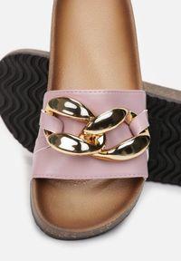 Born2be - Liliowe Klapki Nixishia. Nosek buta: okrągły. Kolor: fioletowy. Materiał: guma. Styl: klasyczny