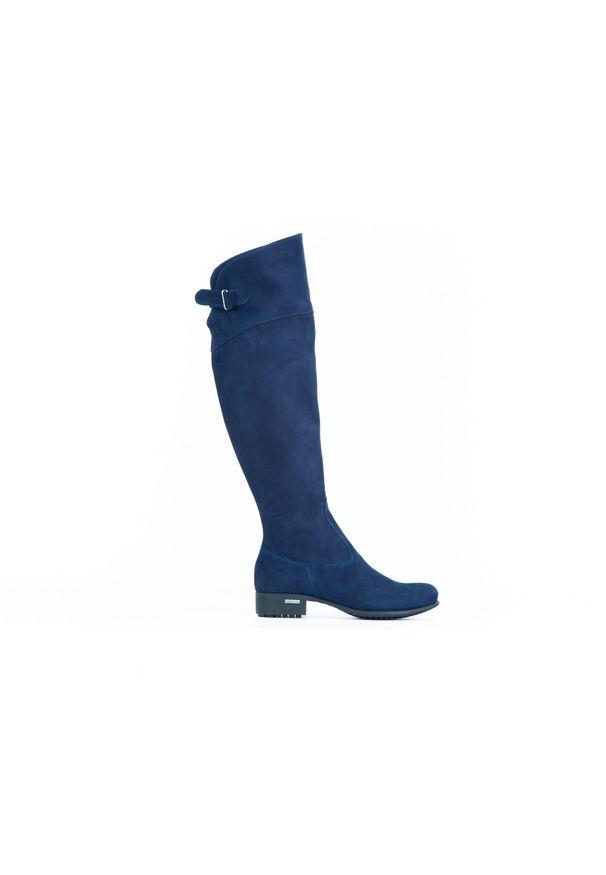 Niebieskie kozaki Zapato z cholewką, wąskie