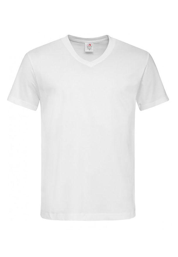 Biały t-shirt Stedman z dekoltem w serek, na co dzień, z krótkim rękawem