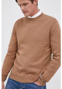 Pepe Jeans - Sweter z domieszką wełny Andre. Kolor: beżowy. Materiał: wełna. Długość rękawa: długi rękaw. Długość: długie