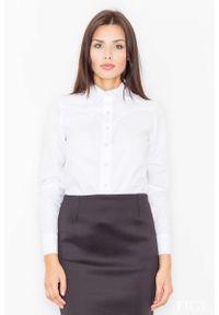 Figl - Biała Klasyczna Koszula z Lamówkami. Kolor: biały. Materiał: bawełna, poliester. Styl: klasyczny