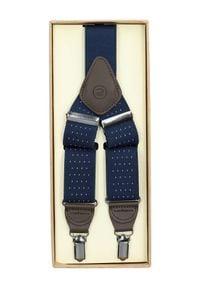 Lancerto - Szelki Granatowe w Kropki. Kolor: niebieski. Materiał: syntetyk, skóra, materiał, elastan. Wzór: kropki