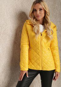 Renee - Żółta Kurtka Baseros. Okazja: na co dzień. Kolor: żółty. Materiał: poliester. Długość: krótkie. Wzór: geometria. Styl: elegancki, casual