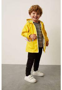 Żółta kurtka Mango Kids gładkie, z kapturem
