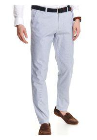 Niebieskie spodnie TOP SECRET eleganckie, w prążki, na lato