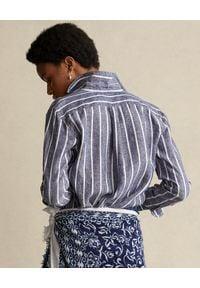 Ralph Lauren - RALPH LAUREN - Niebieska koszula w prążki. Typ kołnierza: polo. Kolor: biały. Materiał: len. Długość rękawa: długi rękaw. Długość: długie. Wzór: prążki. Sezon: wiosna. Styl: klasyczny, elegancki #3