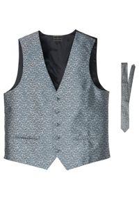 Kamizelka + krawat (2 części) bonprix srebrnoszary paisley. Kolor: srebrny. Wzór: paisley. Styl: elegancki