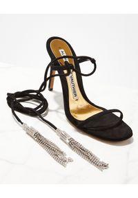 ALEXANDRE VAUTHIER - Czarne sandały Jourdan z kryształami Swarovskiego. Zapięcie: pasek. Kolor: czarny. Materiał: zamsz. Styl: klasyczny