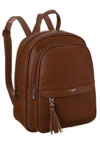 DAVID JONES - Plecak damski koniakowy David Jones 6313-2 COGNAC. Materiał: skóra ekologiczna. Styl: elegancki