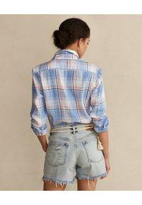 Ralph Lauren - RALPH LAUREN - Lniana koszula w kratę z logo. Typ kołnierza: polo. Kolor: biały. Materiał: len. Długość rękawa: długi rękaw. Długość: długie