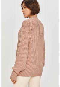 Różowy sweter Answear Lab na co dzień, z długim rękawem, wakacyjny, długi