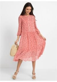 Sukienka szyfonowa z poliestru z recyklingu bonprix kremowy jasnoróżowy w kwiaty. Kolor: różowy. Materiał: szyfon, poliester. Wzór: kwiaty
