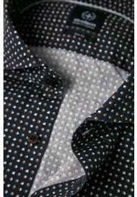 Niebieska koszula Strellson długa, z włoskim kołnierzykiem, casualowa, na co dzień
