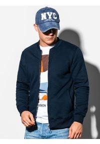 Ombre Clothing - Bluza męska rozpinana bez kaptura B1077 - granatowa - XL. Typ kołnierza: bez kaptura. Kolor: niebieski. Materiał: poliester, bawełna. Styl: sportowy
