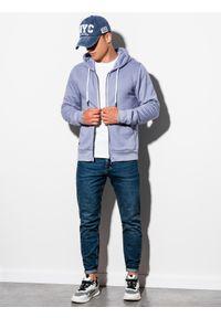 Niebieska bluza Ombre Clothing klasyczna, z kapturem