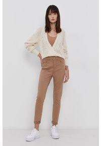 Jacqueline de Yong - Spodnie. Kolor: brązowy. Materiał: bawełna