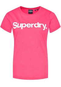 Superdry T-Shirt Flock W1010219A Różowy Regular Fit. Kolor: różowy