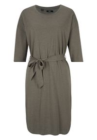 Sukienka bawełniana oversize, krótki rękaw bonprix ciemnooliwkowy melanż. Kolor: zielony. Materiał: bawełna. Długość rękawa: krótki rękaw. Wzór: melanż. Typ sukienki: oversize