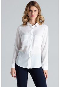 Figl - Ecru Klasyczna Koszula z Podpinanym Rękawem z Kieszeniami. Materiał: elastan, wiskoza, poliester. Styl: klasyczny