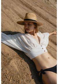 Marsala - Bluzka crop na guziki wykonana z muślinu bawełnianego ecru - COCOA BY MARSALA. Materiał: bawełna