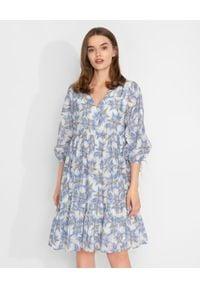 HEMISPHERE - Sukiena w niebieskie kwiaty. Kolor: niebieski. Materiał: jedwab, bawełna, materiał. Wzór: kwiaty. Sezon: lato, wiosna. Długość: mini