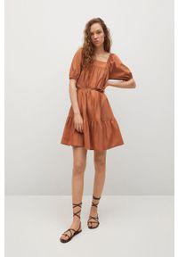 mango - Mango - Sukienka ALMOND. Kolor: pomarańczowy. Materiał: tkanina, bawełna. Długość rękawa: krótki rękaw. Typ sukienki: rozkloszowane