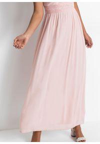 Różowa sukienka bonprix maxi, z krótkim rękawem, w koronkowe wzory