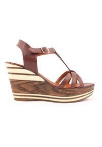 Zapato - sandałki na koturnie - skóra naturalna - model 354 - kolor brązowy. Okazja: na co dzień. Kolor: brązowy. Materiał: skóra. Wzór: nadruk, kolorowy. Sezon: lato. Obcas: na koturnie. Styl: boho, klasyczny, casual
