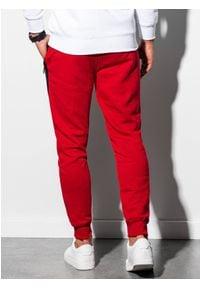 Ombre Clothing - Spodnie męskie dresowe joggery P903 - czerwone - XXL. Kolor: czerwony. Materiał: dresówka