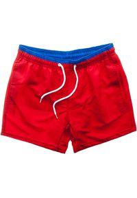 Czerwone spodenki sportowe Recea krótkie, w kolorowe wzory