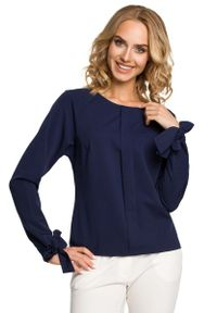 Niebieska bluzka z długim rękawem MOE długa