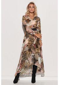 Makadamia - Wzorzysta Sukienka Szyfonowa z Błyszczącą Taśmą - Wzór 16. Materiał: szyfon. Wzór: kwiaty
