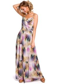 MOE - Wzorzysta Maxi Sukienka na Cienkich Ramiączkach - Model 1. Materiał: poliester, wiskoza, elastan. Długość rękawa: na ramiączkach. Długość: maxi