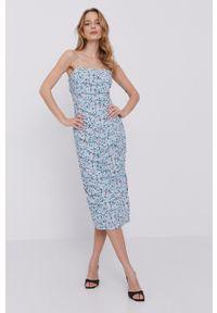 BARDOT - Bardot - Sukienka. Kolor: niebieski. Materiał: tkanina. Długość rękawa: na ramiączkach. Typ sukienki: dopasowane
