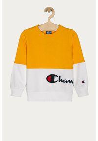 Żółta bluza Champion z aplikacjami, bez kaptura, casualowa, na co dzień