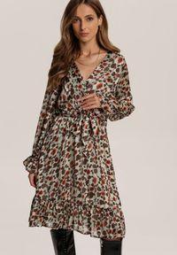 Renee - Miętowa Sukienka Prisesh. Kolor: miętowy. Materiał: materiał. Długość rękawa: długi rękaw. Typ sukienki: kopertowe. Długość: mini