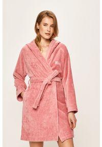 Różowy szlafrok HUGO BOSS z kapturem, gładki