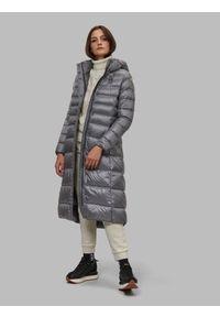 Szara długa kurtka zimowa Blauer. Typ kołnierza: kołnierzyk stójkowy. Kolor: szary. Materiał: puch, nylon. Długość: długie. Wzór: jednolity, aplikacja. Sezon: zima