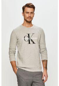 Szara bluza nierozpinana Calvin Klein Jeans z długim rękawem, bez kaptura