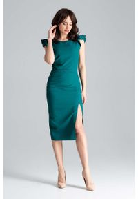 Zielona sukienka wizytowa Katrus z falbankami, midi