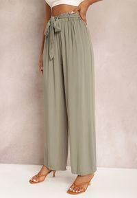Renee - Ciemnozielone Spodnie Szerokie Phiorephis. Kolor: zielony. Materiał: tkanina, wiskoza, materiał. Długość: długie. Wzór: kwiaty, gładki